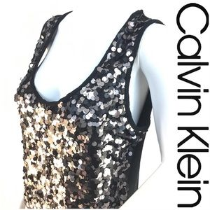 Calvin Klein Black & Silver Sequined Party Top